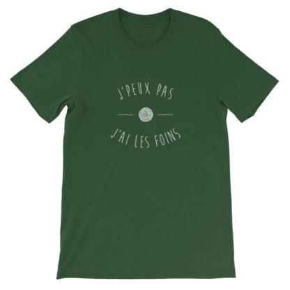 t-shirt agriculteur - j'peux pas j'ai les foins - vert foncé