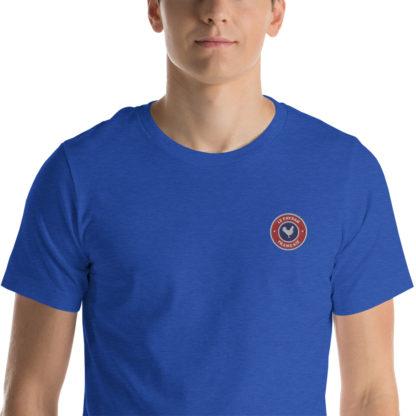 t-shirt agriculteur - le paysan français - zoom - bleu roi