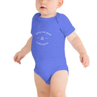 body bébé - quand je serai grand je serai paysan - bleu - garcon