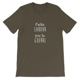 t shirt agriculture humour - faites labour pas la guerre - marron