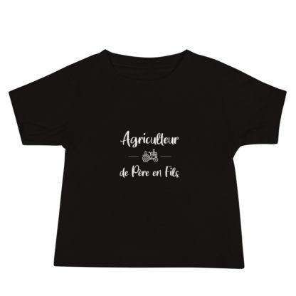 t shirt bébé agriculteur de père en fils noir