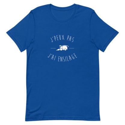 t shirt agriculture - j'peux pas j'ai ensilage - bleu roi