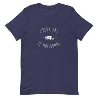 tee shirt agricole - j'peux pas j'ai moisson - bleu chiné